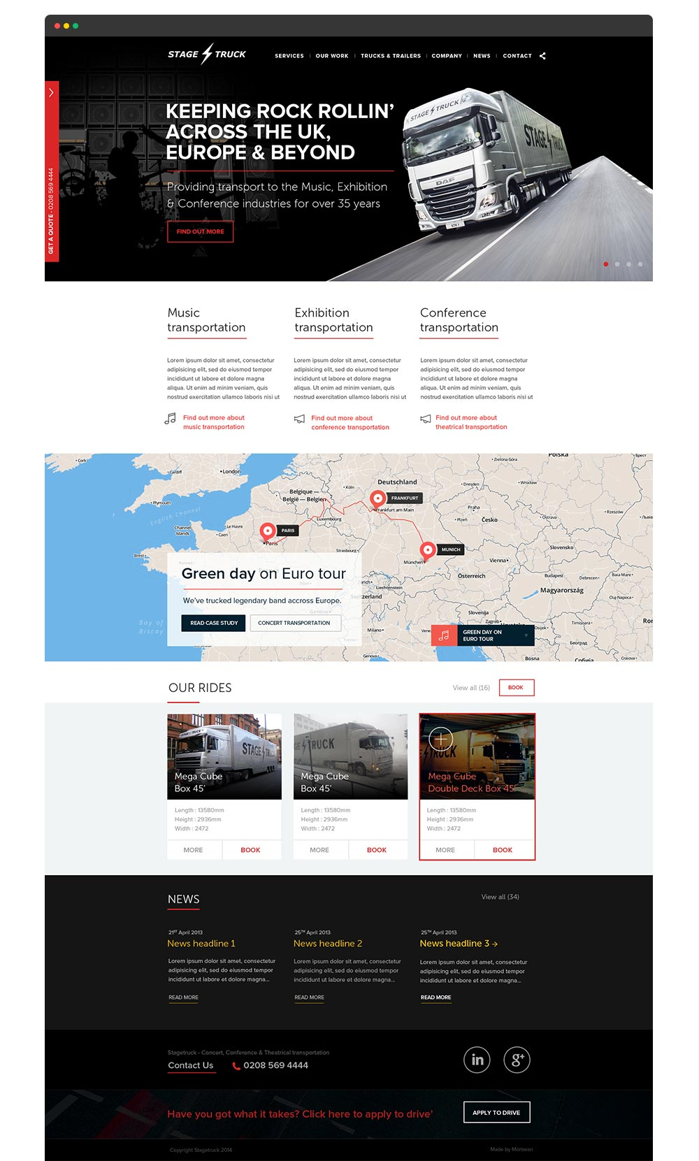 Stagetruck website design