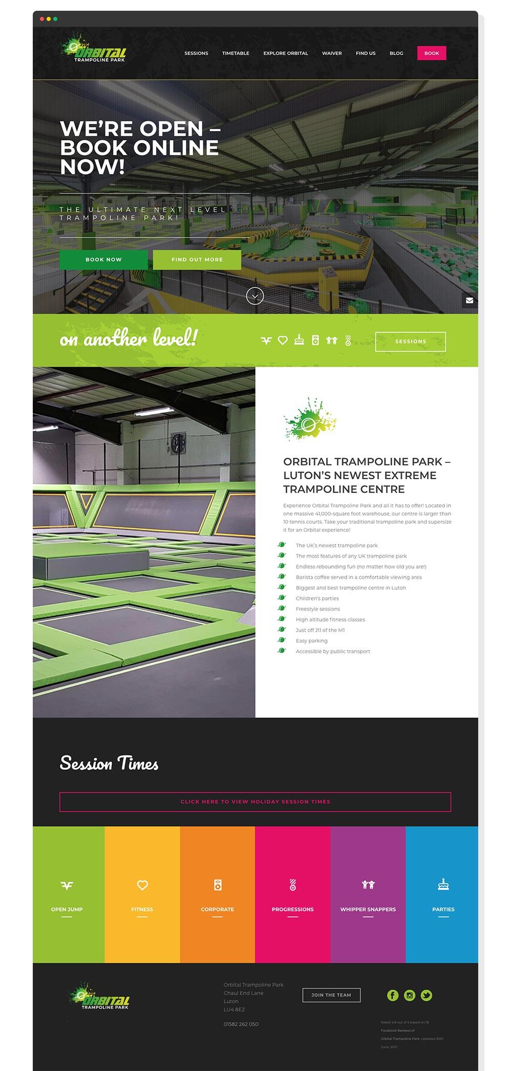 Orbital Trampoline Park website